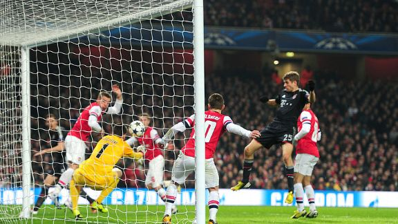 Bayern Munich's Thomas Muller scores their second goal of the game