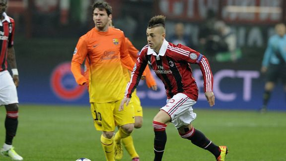 Stephan El Shaarawy and Lionel Messi AC Milan v Barcelona