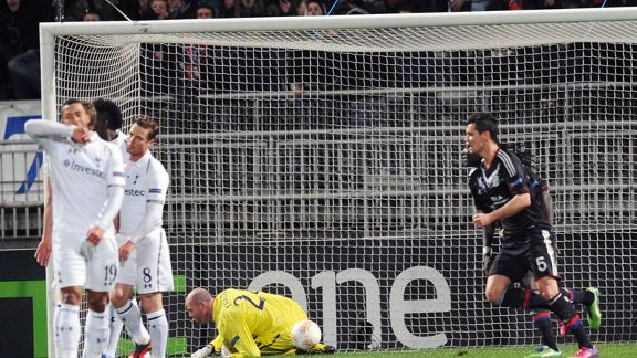 Maxime Gonalons scored for Lyon against Tottenham in the Europa League