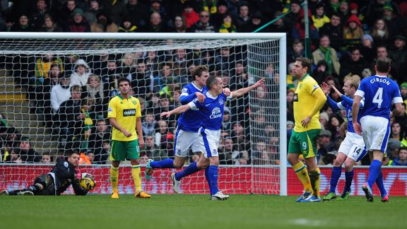 Leon Osman wheels away following his goal for Everton against Norwich