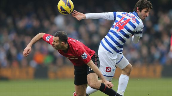 Goalscorer Ryan Giggs in action for Manchester United against QPR