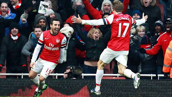 Santi Cazorla and Nacho Monreal celebrate the Arsenal winner