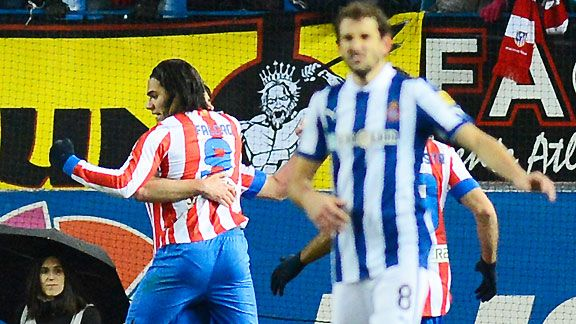 Radamel Falcao celebrates his goal against Espanyol