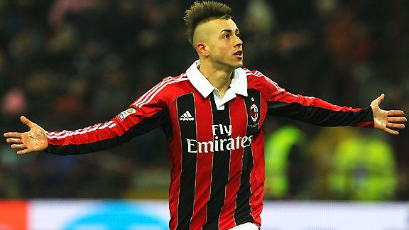 AC Milan's Stephan El Shaarawy celebrates his goal against Inter