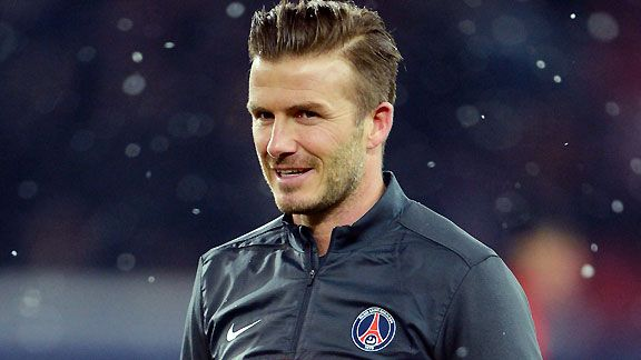 David Beckham is seen during the PSG pre-match warm-up