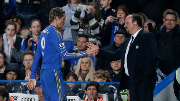 Rafael Benitez and Fernando Torres shake hands