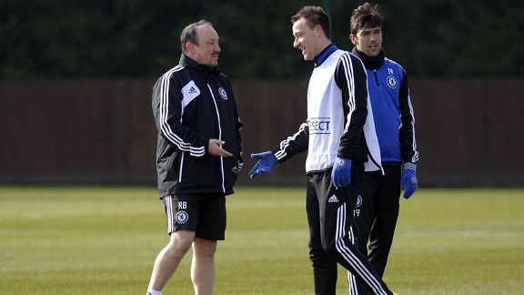 Chelsea interim manager Rafael Benitez alongside captain John Terry