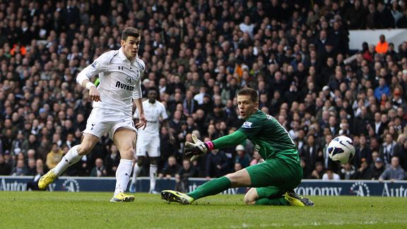 Gareth Bale nets the opening goal for Spurs