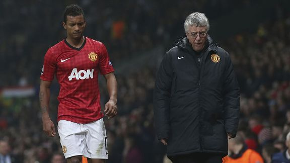 Nani walks away from the Old Trafford pitch after being shown a red card