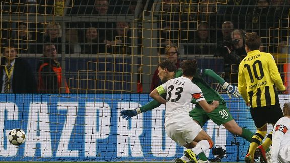 Mario Gotze scored Borussia Dortmund's second goal in their Champions League game against Shakhtar Donetsk