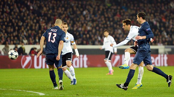Jonas fires in the shot which brought put Valencia in front at PSG
