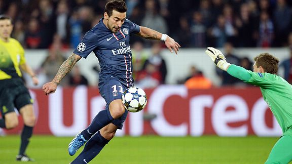 Ezequiel Lavezzi forces home the goal which put PSG back in front on aggregate against Valencia