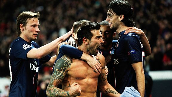 Ezequiel Lavezzi celebrates after scoring the goal which helped secure PSG's place in the quarter-finals