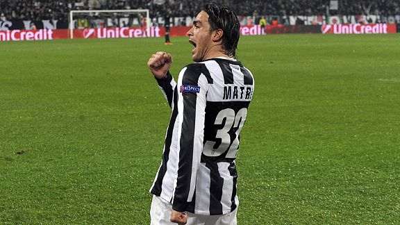 Alessandro Matri celebrates after giving Juve the lead against Celtic in Turin