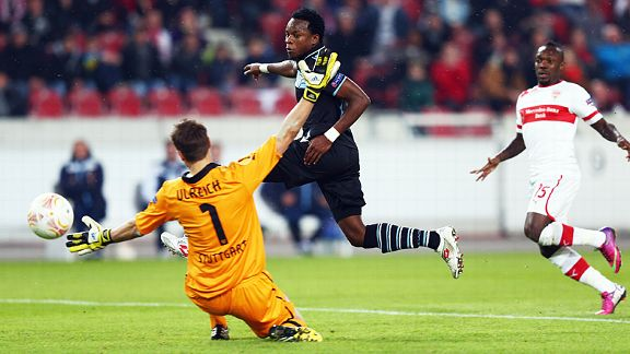 Ogenyi Onazi fires home Lazio's second goal at Stuttgart