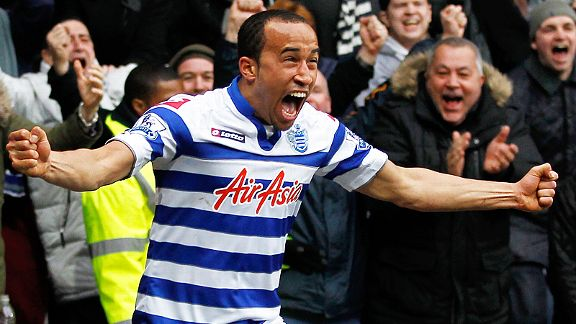 Andros Townsend celebrates after blasting home QPR's second goal against Sunderland