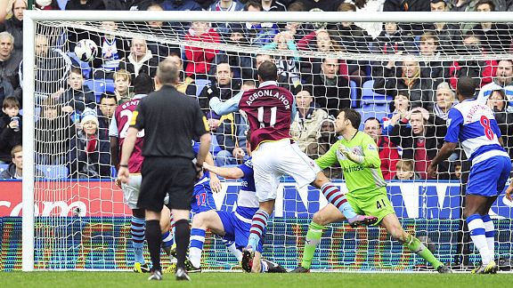 Gabriel Agbonlahor finds the top corner to put Aston Villa in front at Reading