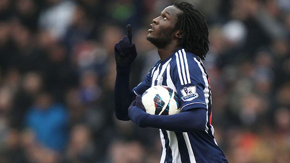Romelu Lukaku celebrates after bringing West Brom back on level terms with Swansea