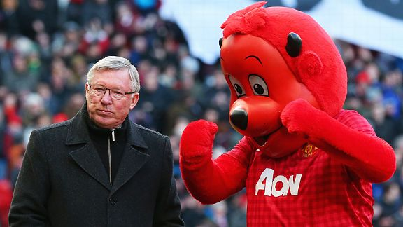 Sir Alex Ferguson is none too impressed with Fred the Red