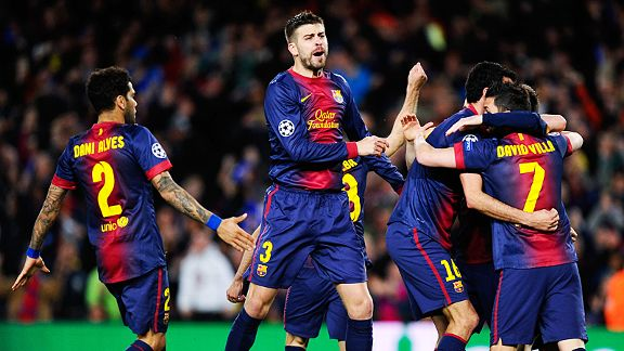 Barcelona celebrate Lionel Messi's early goal