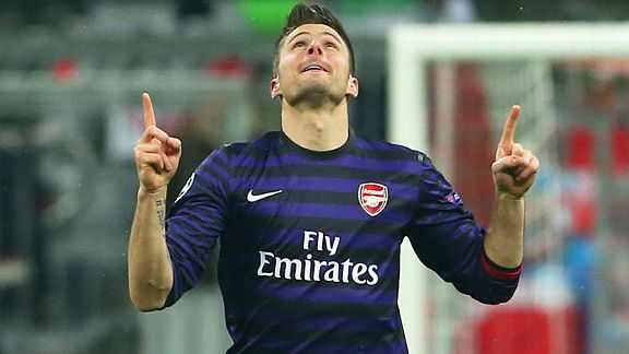 Olivier Giroud celebrates after putting Arsenal in front at the Allianz Arena