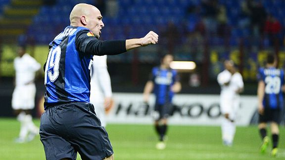 Rodrigo Palacio celebrates after putting Inter two up against Spurs
