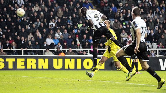 Papiss Cisse finds space to head Newcastle into the Europa League quarter-finals at the expense of Anzhi