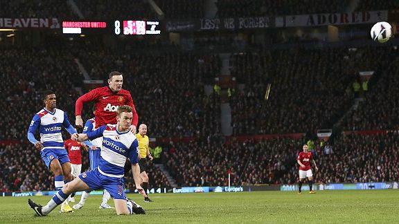 Wayne Rooney's deflected effort gave Manchester United the lead against Reading