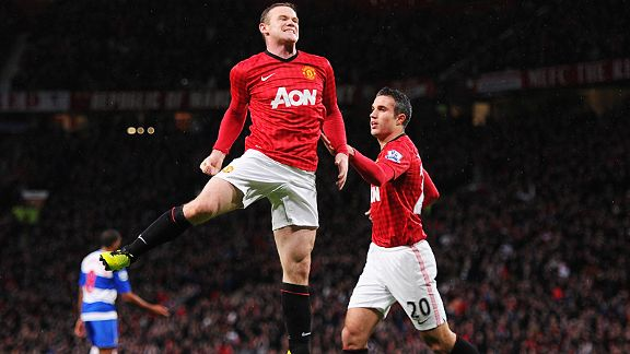 Wayne Rooney jumps for joy after scoring what proved to be Man United's winner at home to Reading