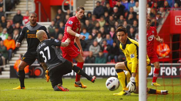 Morgan Schneiderlin gives Southampton the lead against Liverpool