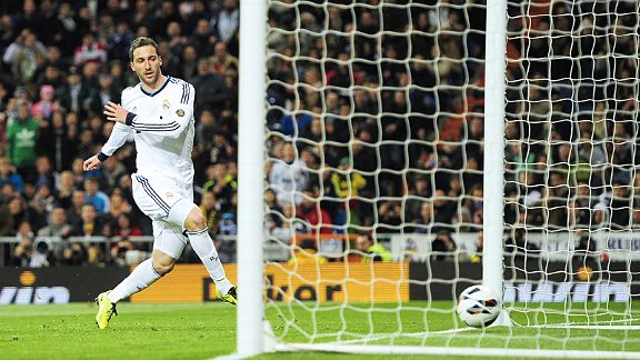 Gonzalo Higuain scores Real Madrid's first equaliser against Real Mallorca