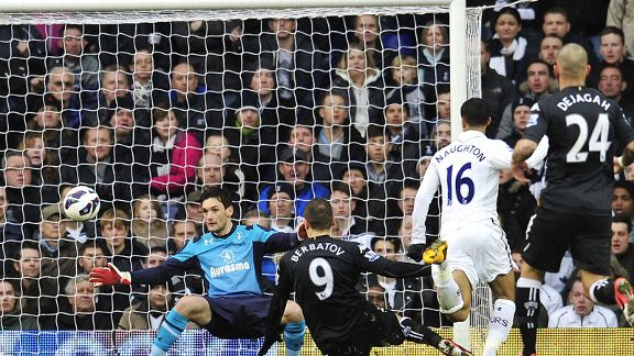Dimitar Berbatov scores for Fulham against his former side Tottenham
