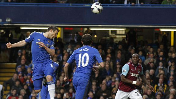 Frank Lampard scores his 200th goal for Chelsea against former side West Ham