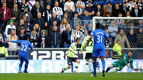 Jean Beausejour scores for Wigan against Newcastle in the Premier League