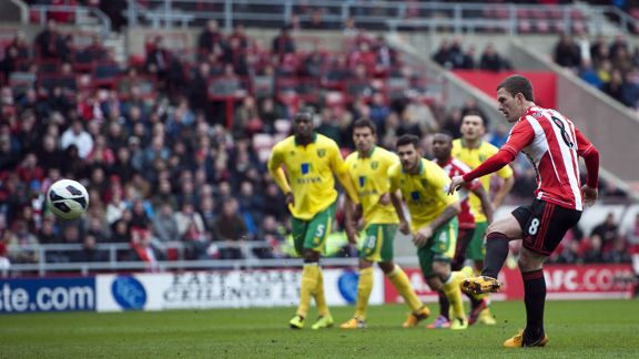 Craig Gardner scored Sunderland's equaliser against Norwich from the penalty spot