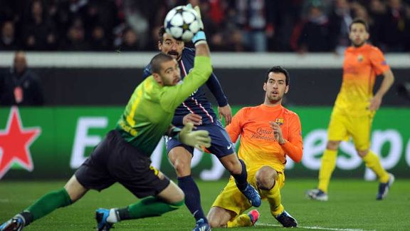 Sergio Busquets' tackle sends the ball past Victor Valdes, but it comes back off the post