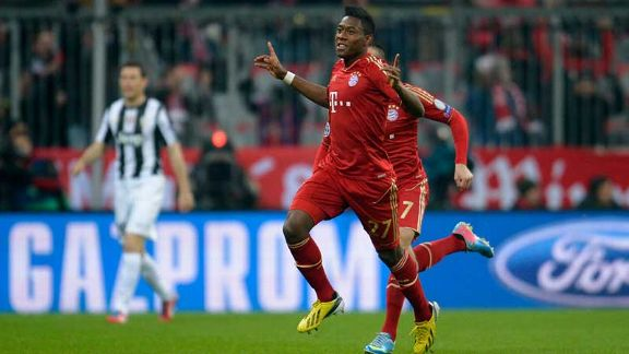 David Alaba celebrates after putting Bayern 1-0 up against Juventus with less than a minute on the clock