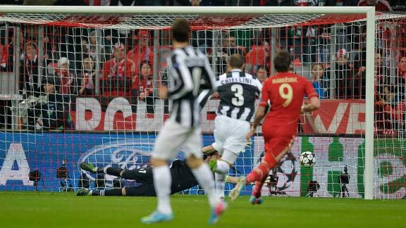 Juventus goalkeeper Gianluigi Buffon fails to prevent David Alaba's deflected strike giving Bayern Munich the early lead