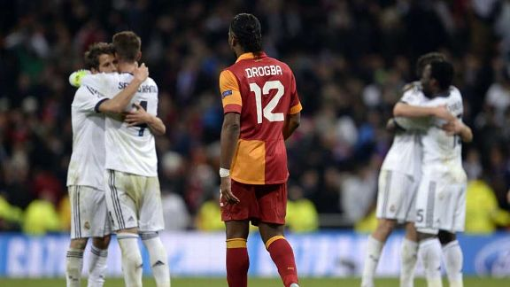 Didier Drogba looks on as Real Madrid celebrate their victory
