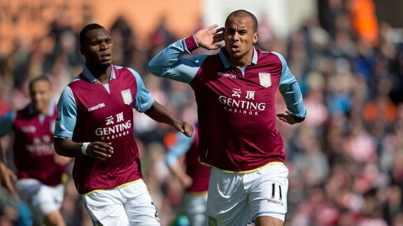 Gabriel Agbonlahor scored to give Aston Villa the lead against Stoke
