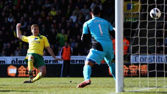 Michael Turner gives Norwich the lead against Swansea