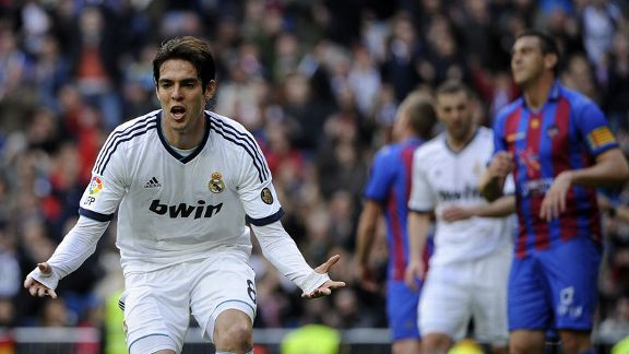 Kaka converted from the penalty spot to put Real Madrid in front against Levante