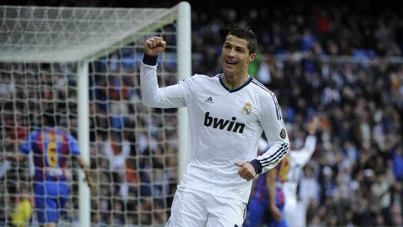 Cristiano Ronaldo celebrates his goal against Levante