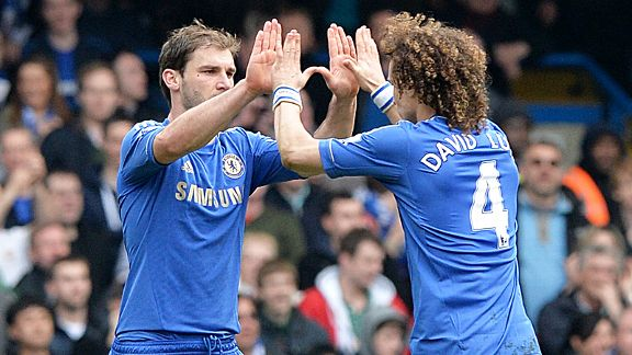 Branislav Ivanovic celebrates with David Luiz after putting Chelsea in front
