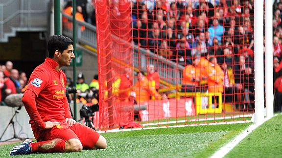 Luis Suarez shows his disappointment after a chance goes begging against West Ham