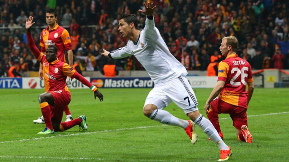 Ronaldo celebrates the first of two goals against Galatasaray