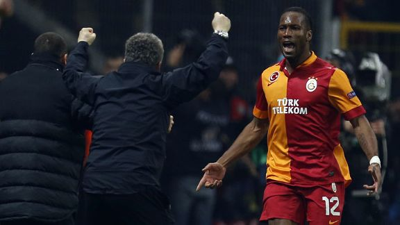 Didier Drogba celebrates making it 3-1 to Galatasaray