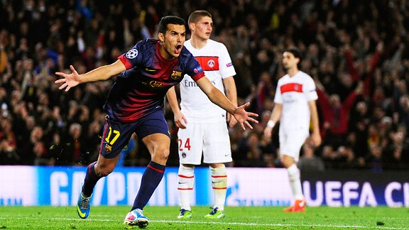 Pedro celebrates after putting Barcelona back on level terms with PSG