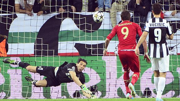 Mario Mandzukic fires Bayern Munich into the lead at Juventus