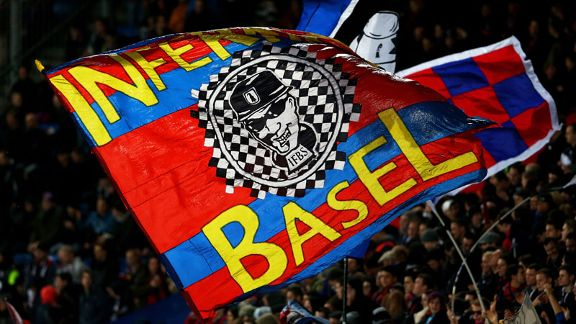 Basel fans fly the flag in their Europa League tie with Tottenham